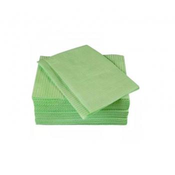 Салфетки для пациентов (нагрудники) - 2 слоя - 500 штук - ЗЕЛЕНЫЕ / Ele-Green