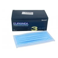 Маска медицинская лицевая защитная Euronda, защита 3, трехслойные , 50шт., голубой