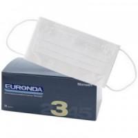 """Маска медицинская лицевая защитная """"Euronda"""", защита 3, трехслойные, 50шт., цвет """"Белый"""""""