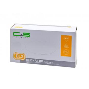 """Перчатки смотровые латексные текстурированные неопудренные двойного хлорирования, с валиком (EL2), Clean+Safe, №1, размер """"XL"""""""