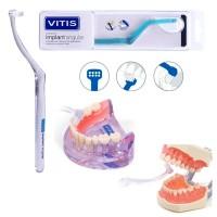 Зубная щетка VITIS® Implant Angular для чистки 8х зубов и труднодоступных областей лингвальной и апроксимальной поверхностей.
