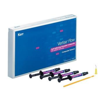 Вертис Флоу (Vertise Flow) - наногибридный композит - 4 шприца (по 2 г) эмаль A2, A3, A3.5, универсальный дентин; 40 насадок, 40 щеточек / KERR