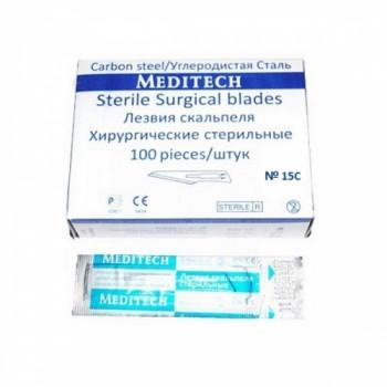 Лезвия скальпеля однораз. стерильные №15 - 100 шт (Meditech)