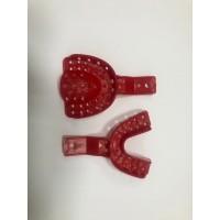 Слепочная ложка, комплект - (верх и низ) - размер M, номер 2, цвет Красный